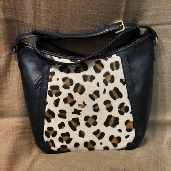 Feline Print Leather Cross Body