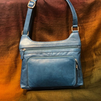 Blue Leather Cross Body