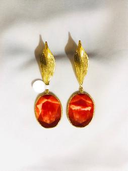 Orange Cherries Gold Earrings
