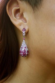 Pink Drop Silver Earrings