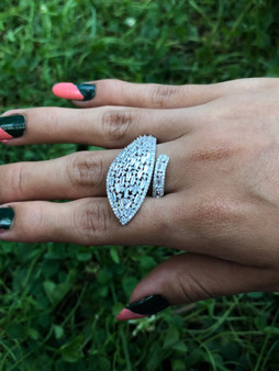 Overlapping Leaf Silver Ring