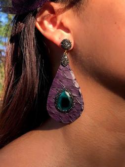 Snake Skin/Crystal/Stone Earrings