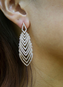 Waterfall Gold Plated and  Cubic Zirconia  Earrings