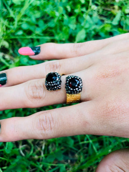 Garnet Twins Gold Plated Ring