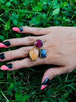 Precious Stones:  Sodalite Garnet Orange Quartz