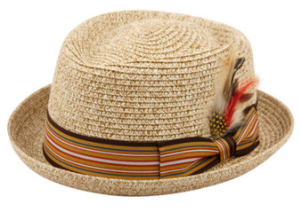 Straw Fedora Style Boater with Striped Band