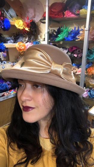 Betty Wool Felt Golden Bowler Hat