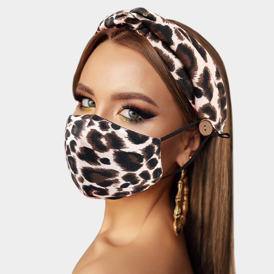 Leopard Print Cotton Mask & Headband Set
