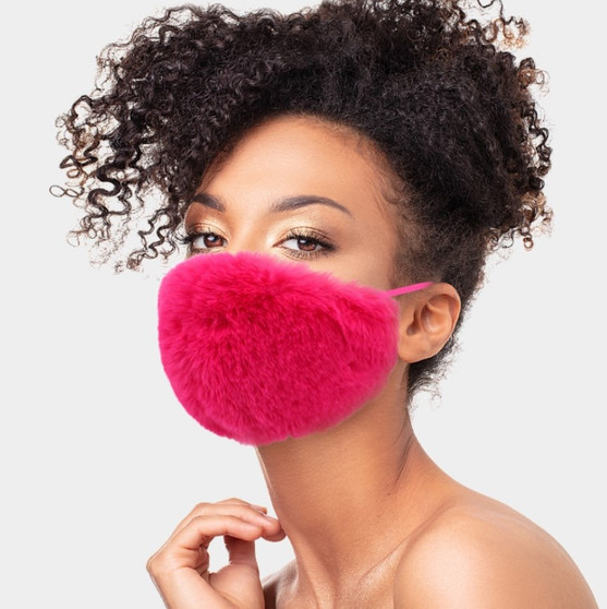 face mask red faux fur gift  holidays accessories fashion  christmas winter hannukah