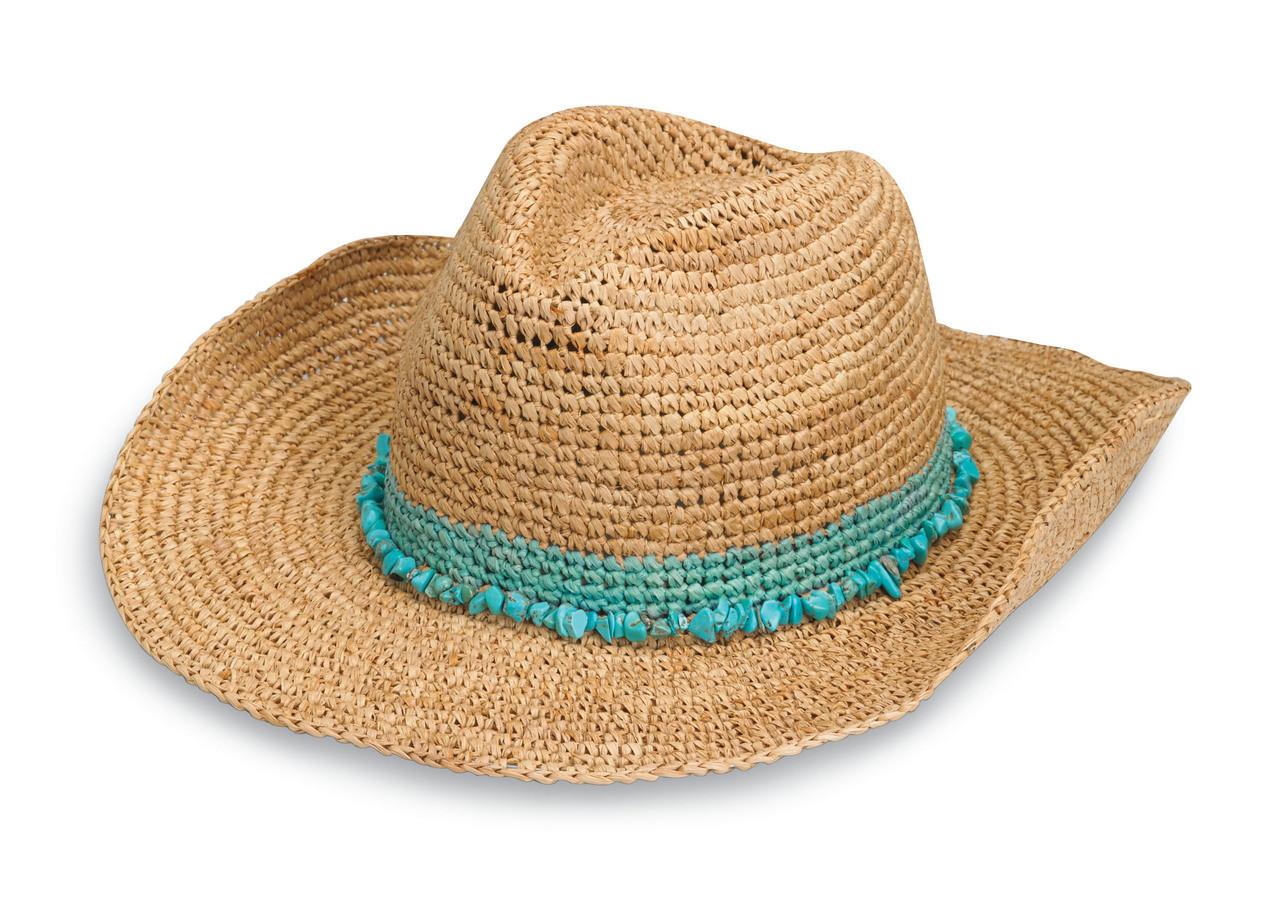 Womens Wallaroo Tahiti Cowboy sun hat turquoise 0b9141ee180
