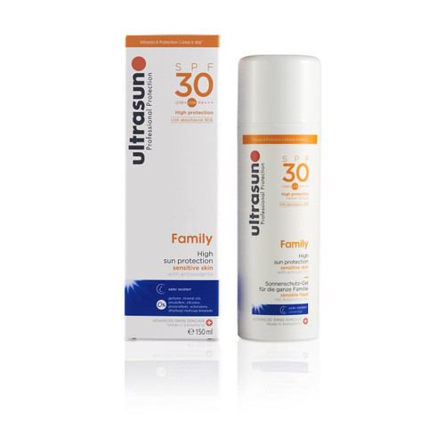 Ultrasun sensitive family formula once a day sun protection spf30 sunscreen 150ml