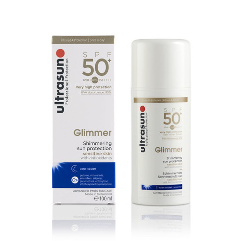 Ultrasun once a day sensitive glimmer spf50 sunscreen 100ml