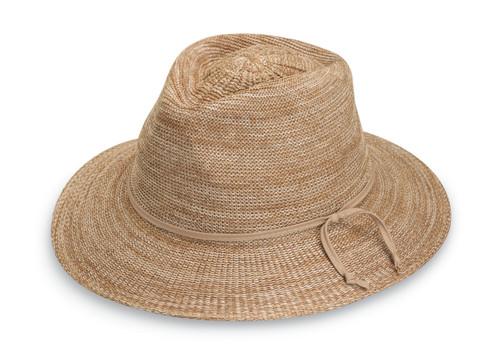 Womens Wallaroo victoria fedora upf50 hat mixed camel