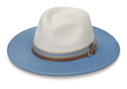 Womens Wallaroo Kristy UFP50 sun hat ivory ice blue