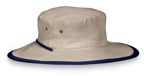 Wallaroo junior explorer safari style hat upf50 camel navy