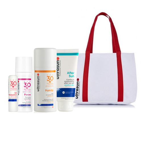 Ultrasun summer sun pack, family formula, aftersun, face spf30 and lip protection