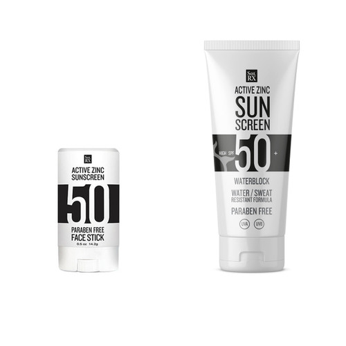 SolRX SPF50 Zinc waterblock sports sunscreen lotion and solrx zinc stick pack