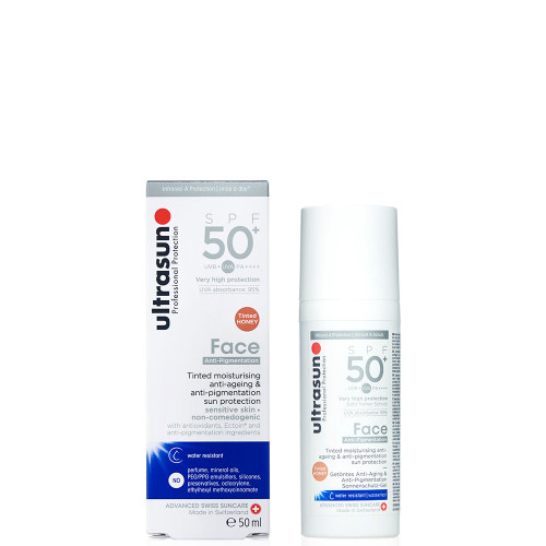 Ultrasun SPF50+ anti-pigmentation and anti ageing face tinted sun protection