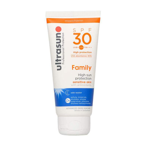 Ultrasun sensitive family formula once a day sun protection spf30 100ml squeeze tube