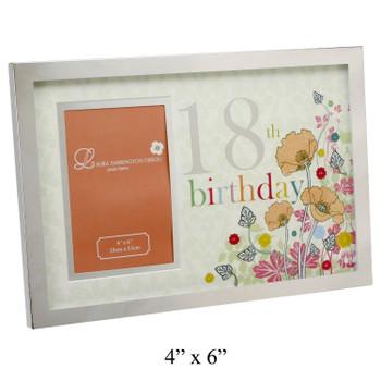 18th Birthday Designer Flower Photo Frame For Females or Girls