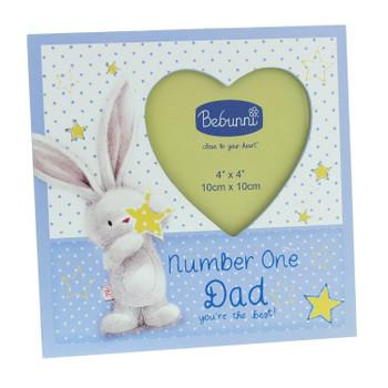 """Bebunni Polka Dot Wooden Heart Photo Frame 4"""" x 4"""" - Dad"""
