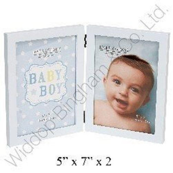 Baby Boy Hinged Photo Frame. Holds 2x 5''x7'' Photographs Heart & Star Design