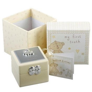Baby Christening Gift. Button Corner First Tooth Box
