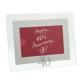Ruby Anniversary Glass Mirror Motif Photo Frame 40th