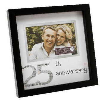 25th Anniversary Sentiment Symbols photo frame in black