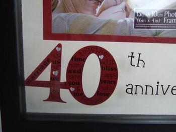 40th Anniversary Sentiment Symbols photo frame in black