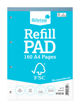 A4 FSC Certified Silvine Refill Pad 160 Pages