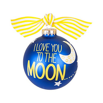 """I Love You to the Moon"" Large 10cm Decoration Bauble Navy Blue with Sky Design"