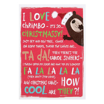 Hallmark Christmas Card 'I Love Chrimbo' Medium