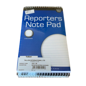 12 x Reporters Note Pads Spiral Bound 160 Pages
