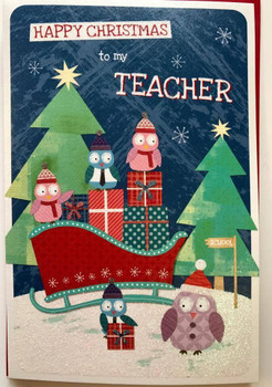 To My Teacher Happy Christmas School Thank you Appreciate Card..