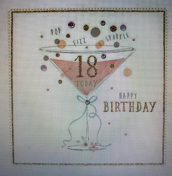 18th Hand finished by Morello London Age 18 Birthday Quality Crystals Greeting Card