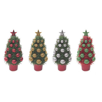 Christmas Tinsel Table Decoration Bauble Tree Design 16cm