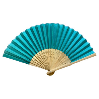 Turquoise Fabric Foldable Hand Held Bamboo Wooden Fan