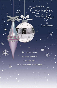 Grandson & Your Wife Beautiful Christmas Card From Uk Greetings