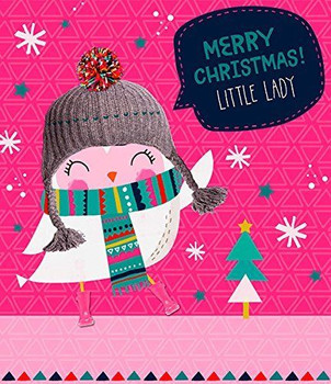 Little Lady Cute Robin With Scarf & Hat Christmas Card