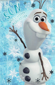 """""""For A Son Who's Worth Melting For"""" Disney's Frozen Christmas Card Featuring Olaf Christmas Card"""
