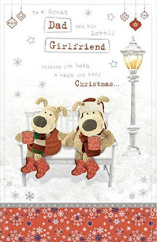 Boofle Dad & His Girlfriend Snowy Bench Luxury Christmas Card
