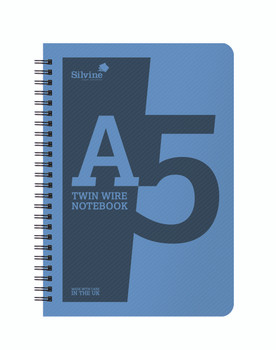 10 x A5 Twin Wirebound Blue Plastic Front Notebooks 160 Pages