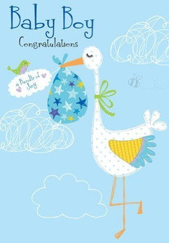""" Baby Boy  Congratulations "" Quality Embossed Greeting Card  DR003"