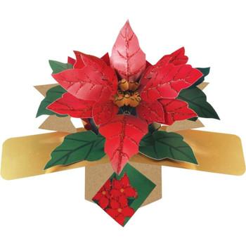 """"""" Poinsettias """" Petite Christmas Pop Up Card XPOPM022"""