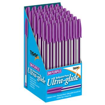 Box of 50 Purple Ultra Glide Ballpoint Pens