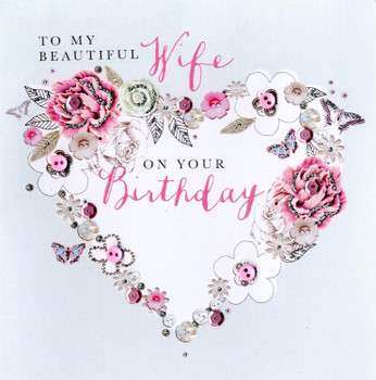 Beautiful Wife Birthday Buttoned Up Greeting Card Button Embellished Cards