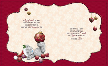 Beautiful Girlfriend Me to You Bear Large Luxury Nice Verse Handmade Boxed Christmas Card