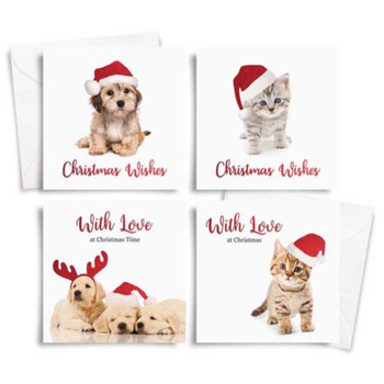 10 Square Photographic Christmas Cards Dogs and Cats