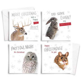 10 Square Photographic Christmas Cards Deer and Mouse